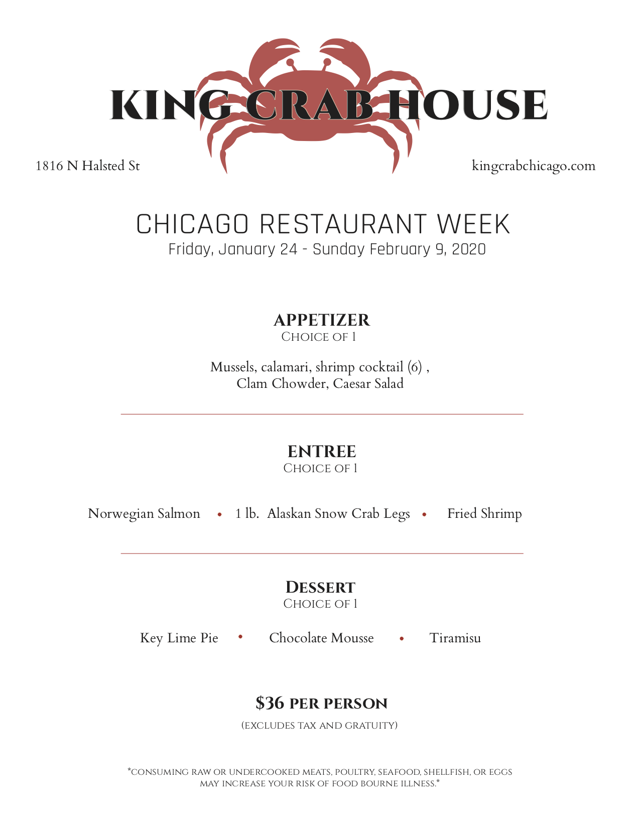 king crab house chicago restaurant week