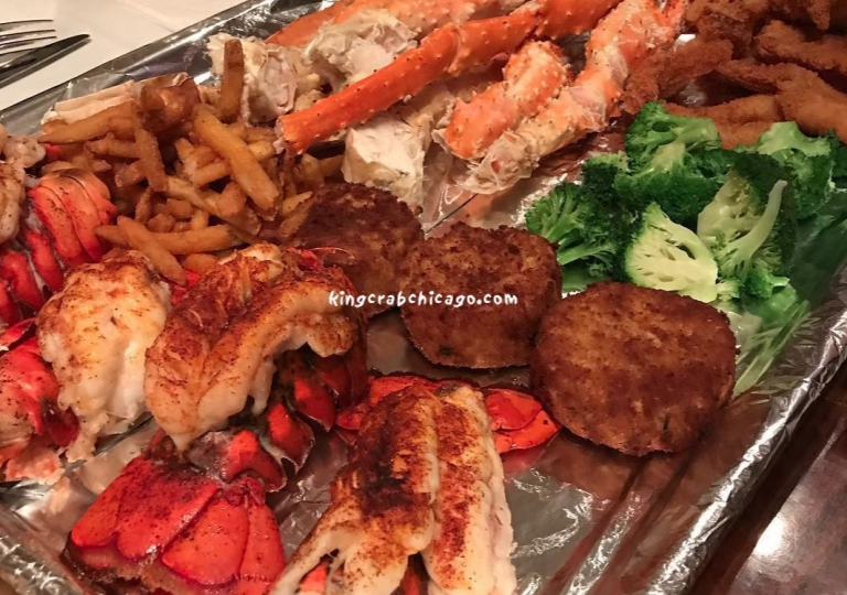 king-crab-house-chicago-platter-lobster-cakes-fries-crab-legs