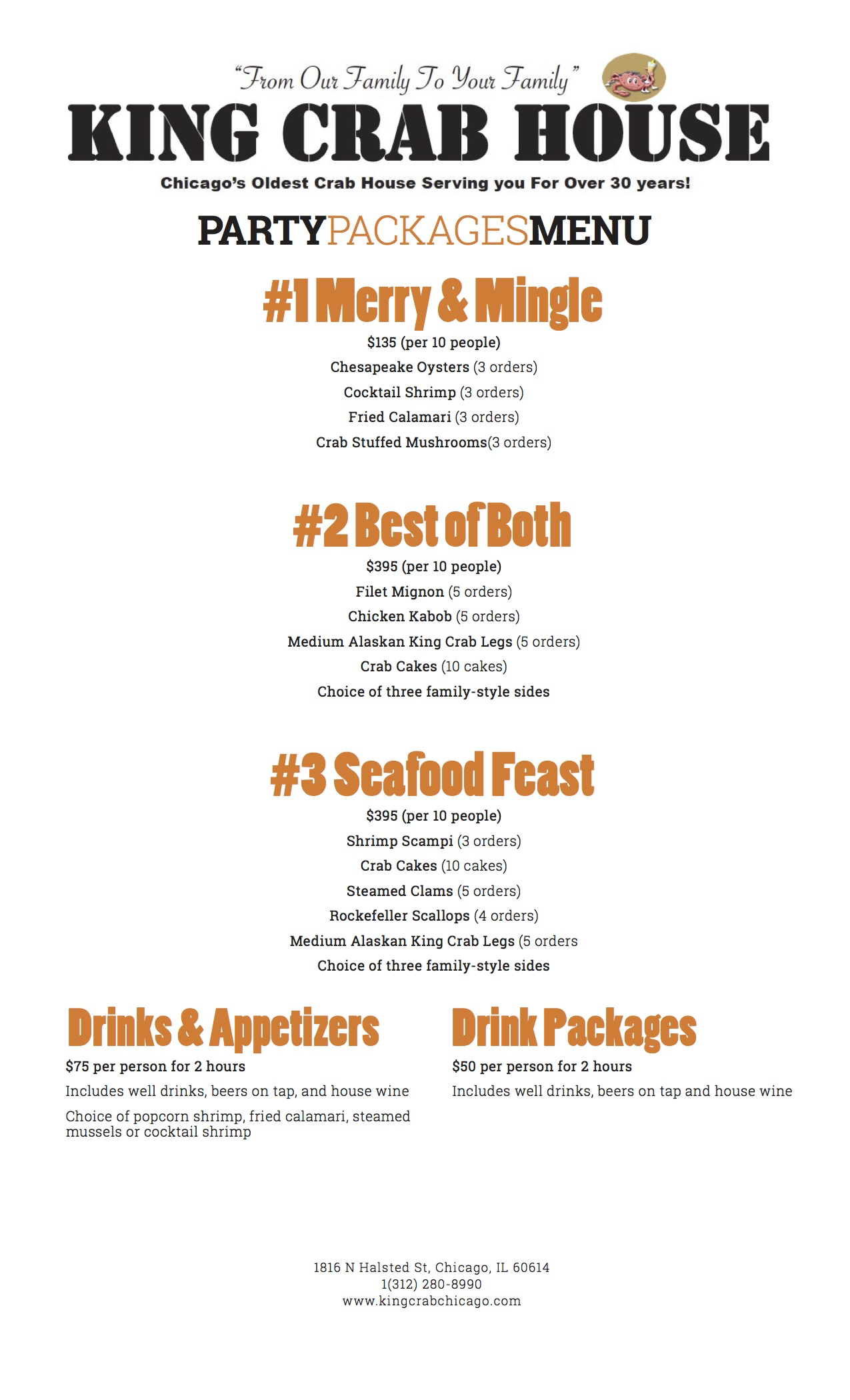 king crab house chicago specialty party menu